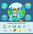 fishing icons collection background vector image