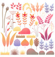 flat autumn floral elements set vector image