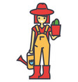 gardener woman with plant and watering can vector image vector image