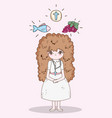 girl first communion with wafer host and fish with vector image