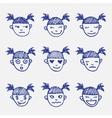 hand drawn doodle emoticons set Girls head vector image vector image