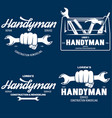 handyman labels badges emblems design elements vector image vector image