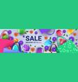happy easter holiday celebration sale banner flyer vector image