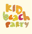 kid style lettering birthday party vector image vector image