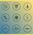 landscape icons line style set with sunflower vector image