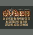 lettering queen set vintage alphabet letters vector image