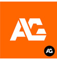 letters a and g ligature logo two ag sign vector image vector image