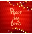 Peace Joy Love on red kniting vector image vector image