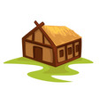 peasants wooden house medieval hut with straw roof vector image