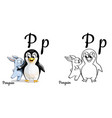 penguin alphabet letter p coloring page vector image vector image