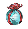 planet earth holiday gift vector image