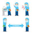 preventif act flu spread girl moslem student vector image vector image