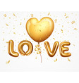 realistic balloons letter love with ribbon vector image