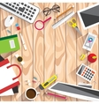 Realistic workplace organization vector image