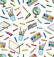 school supplies pattern vector image vector image