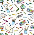 school supplies pattern vector image