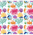 seamless background design with sea creatures vector image vector image