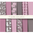 seamless grey and pink pattern set vector image vector image