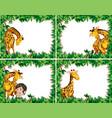 set giraffe in nature frame vector image vector image