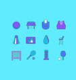 set simple line icons tennis vector image
