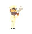 ship captain in uniform smoking pipe cartoon vector image