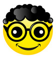 smile with black curly hair and glasses vector image vector image