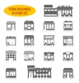 Store building icons set black vector image vector image