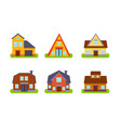 suburban residential cottages set real estate vector image vector image