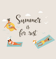 summer beach poster with minimalistic characters vector image vector image