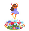template with happy woman dancing on a vector image vector image