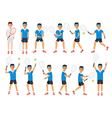 Tennis players tennis sport athletes in actions vector image vector image