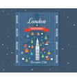 Travel to London Merry Christmas greeting card vector image