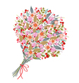 Watercolor flowers bouquet on white background vector image vector image