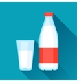 with bottle and glass of milk in flat vector image vector image