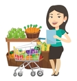 Woman with shopping list vector image vector image