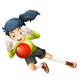 A female soccer player using the ball with the vector image vector image