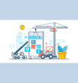 app development process construction of web vector image vector image