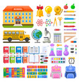 awesome set school objects and elements vector image vector image