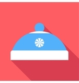 Blue hat with pompom icon flat style vector image vector image