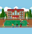 boys playing basketball game vector image vector image