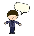 cartoon annoyed man with speech bubble vector image vector image