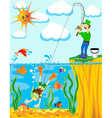 Cartoon Fisherman Background vector image