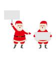 cartoon santa keeping paper in hands set vector image vector image