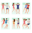 cartoon sleeping couple characters people set vector image