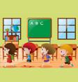 children walking in classroom vector image