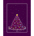 christmas tree on the purple background vector image vector image