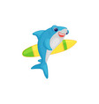 cute cartoon shark holding a surfing board funny vector image