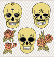 day dead set skulls with roses vector image