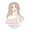 dreaming girl concept idea beautiful young woman vector image vector image