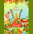 easter spring holiday cartoon greeting card design vector image vector image